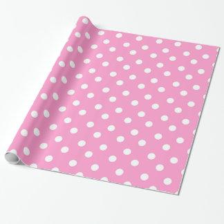 Pink and White large polka dot print gift wrap
