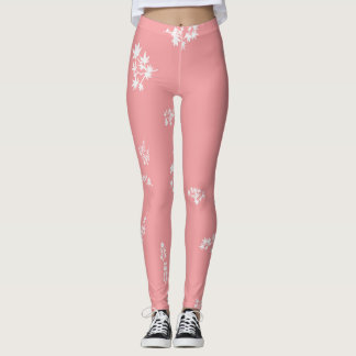 Pink and White Leaves Leggings