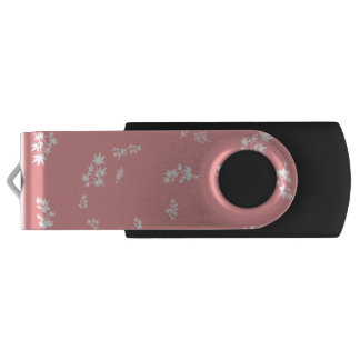 Pink and White Leaves USB Flash Drive