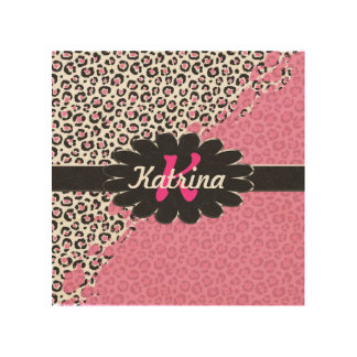 Pink and White Leopard Print with Pink Splatter Wood Prints