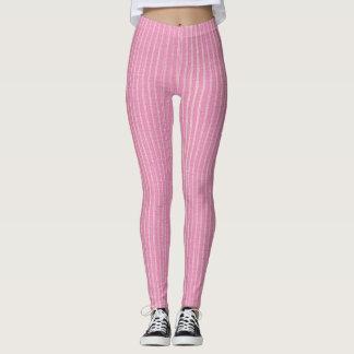 Pink and White, Light Pink Pin Stripes Leggings