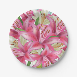 Pink and White Lilies 7 Inch Paper Plate