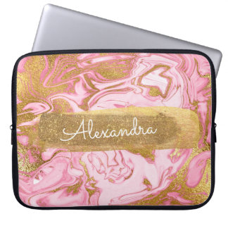 Pink and White Marble with Gold Foil and Glitter Laptop Sleeve