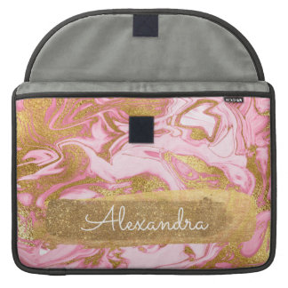 Pink and White Marble with Gold Foil and Glitter Sleeve For MacBook Pro