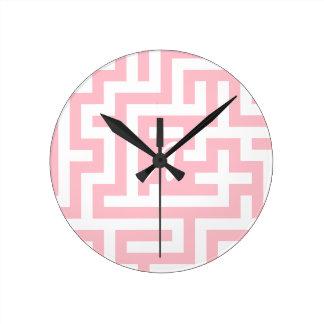 Pink and White Maze Monogram Clocks