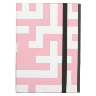 Pink and White Maze Monogram iPad Air Cover