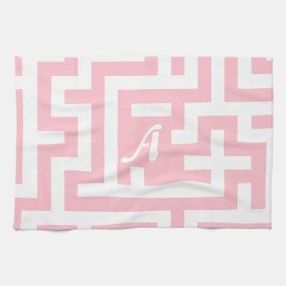 Pink and White Maze Monogram Kitchen Towel