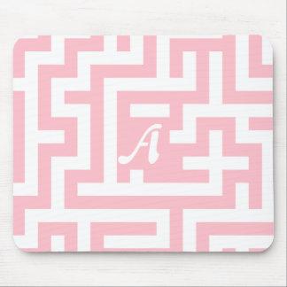 Pink and White Maze Monogram Mousepad