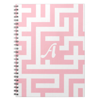 Pink and White Maze Monogram Note Books