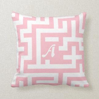 Pink and White Maze Monogram Pillow
