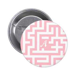Pink and White Maze Monogram Pinback Buttons