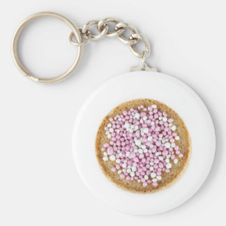 Pink and White Muisjes Keychain