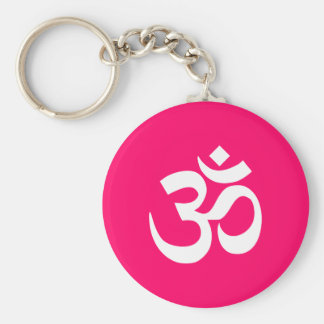 Pink and White Om Symbol Basic Round Button Key Ring
