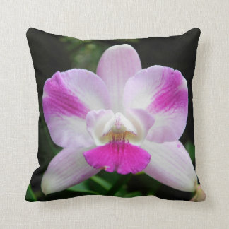 Pink and White Orchid Pillow