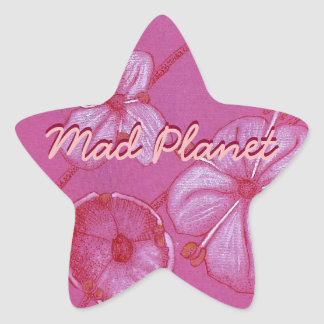 Pink and White Painted Flower Study Star Sticker