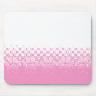 Pink And White Paws With Newsprint Background Mouse Pad