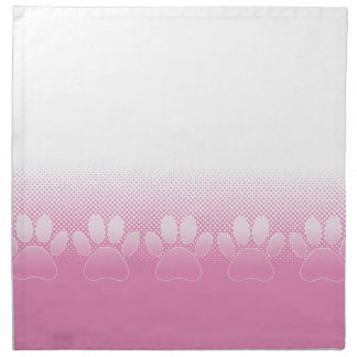 Pink And White Paws With Newsprint Background Napkin