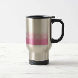 Pink And White Paws With Newsprint Background Travel Mug