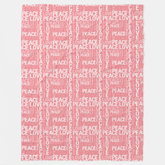 Pink and White Peace Love Fleece Blanket