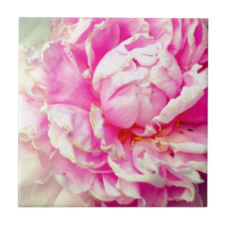 Pink and White Peonies Ceramic Tile
