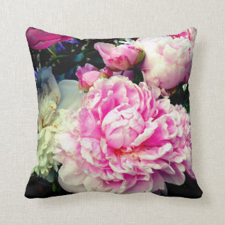 Pink and White Peonies Cushion