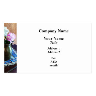 Pink and White Peonies in Green Jug Business Cards