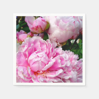 Pink and White Peonies Paper Serviettes