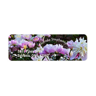 """""""PINK AND WHITE PEONIES"""" RETURN ADDRESS LABELS"""