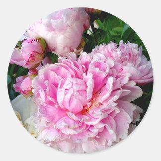 Pink and White Peonies Round Sticker