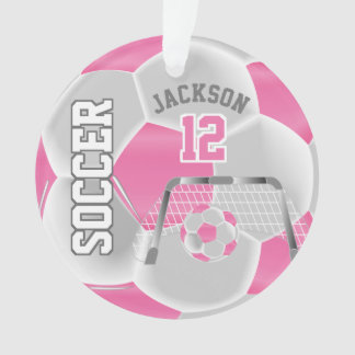 Pink and White Personalize Soccer Ball Ornament