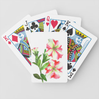 Pink and White Petunias Floral Art Bicycle Playing Cards