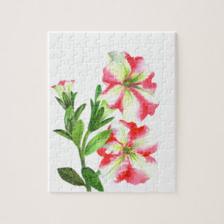 Pink and White Petunias Floral Art Jigsaw Puzzle