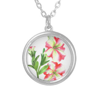 Pink and White Petunias Floral Art Silver Plated Necklace