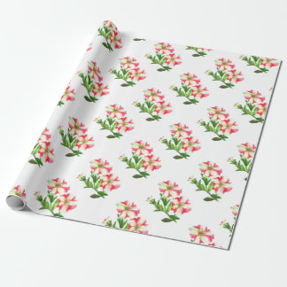 Pink and White Petunias Floral Art Wrapping Paper