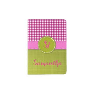 Pink and White Plaid Fresh Green Monogram Passport Holder