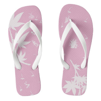 Pink and White Plants Thongs