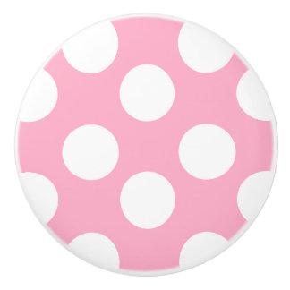 Pink and White Polka Dot Furniture Knob