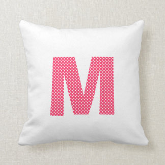 Pink and White Polka Dot Letter M Cushion