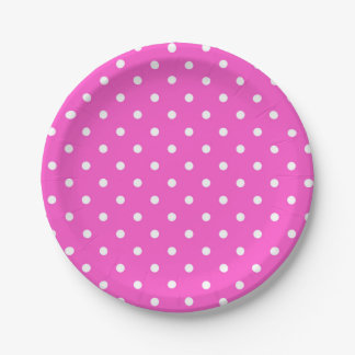 Pink and white polka dot modern glamour 7 inch paper plate