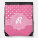 Pink and White Polka Dot Monogram Backpack