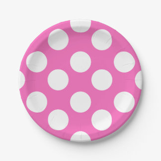 Pink and White Polka Dot Paper Plates 7 Inch Paper Plate