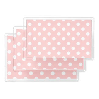 Pink and White Polka Dot Pattern Acrylic Tray