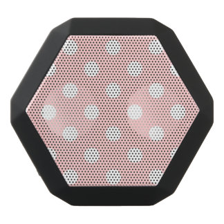 Pink and White Polka Dot Pattern Black Bluetooth Speaker