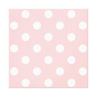 Pink and White Polka Dot Pattern Canvas Print