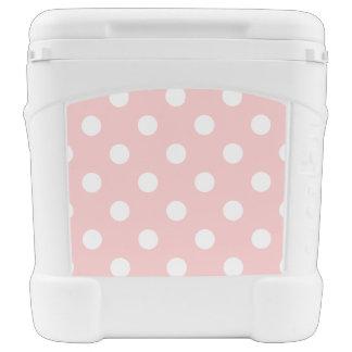 Pink and White Polka Dot Pattern Cooler