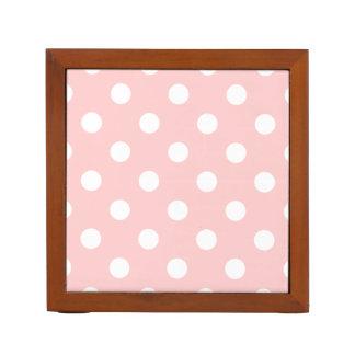 Pink and White Polka Dot Pattern Desk Organiser