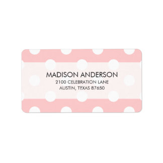 Pink and White Polka Dot Pattern Label