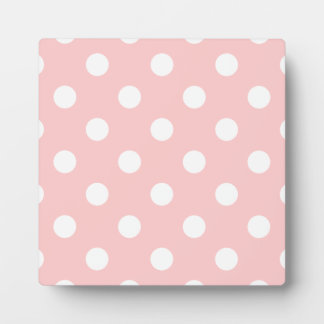 Pink and White Polka Dot Pattern Plaque