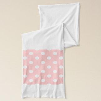 Pink and White Polka Dot Pattern Scarf