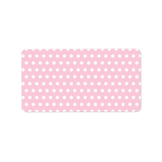 Pink and White Polka Dot Pattern. Spotty. Address Label